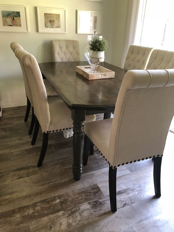 Dining Room Table With 6 White Tufted Chairs Vancouver
