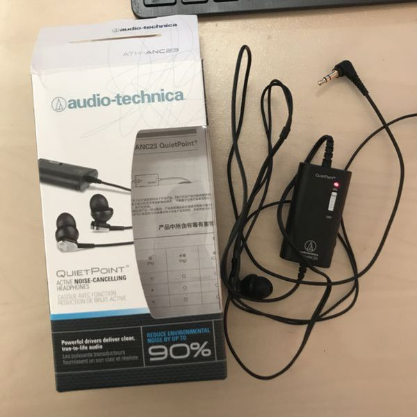 3be85bb1cff Audio-Technica ATH-ANC23 QuietPoint Active Noise-Cancelling In-Ear  Headphones