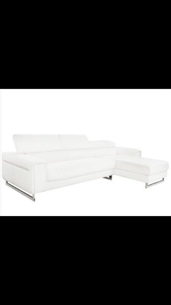 MODERN White Leather Sectional Right Chaise Lounge Couch