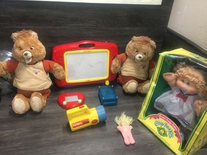 Used, Vintage kids toys teddy rupskin cabbage patch doll etch a sketch kids flashlight for sale  Broken Arrow, OK