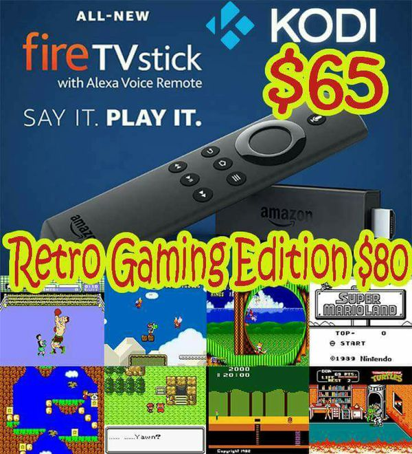 Amazon Fire Stick with KODI and Retro Video Games! Watch tv for free and  play old school games! for Sale in Sun City, AZ - OfferUp