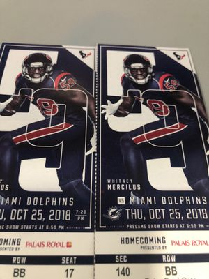 Texans/Dolphins Oct25th. Lower Level for Sale in League City, TX
