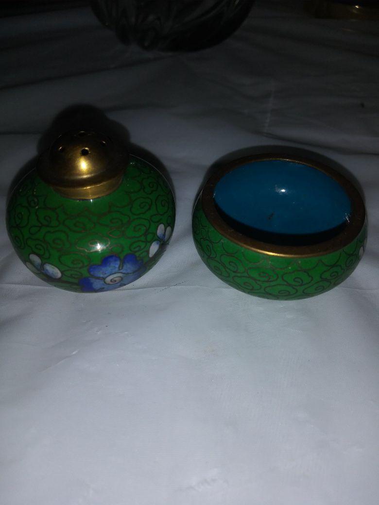 2 piece Stackable Cloissonet Salt & Pepper Cellers