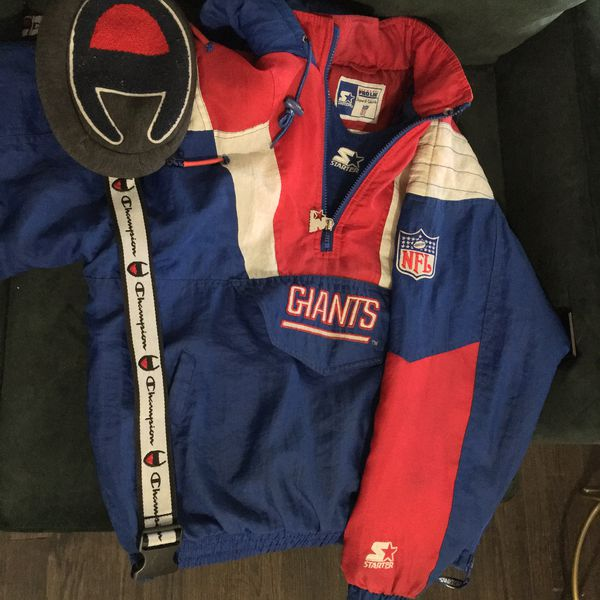 uk availability ae493 9cfd3 New York Giants Starter Jacket ( L ) & Champion Fanny Pack for Sale in New  Britain, CT - OfferUp