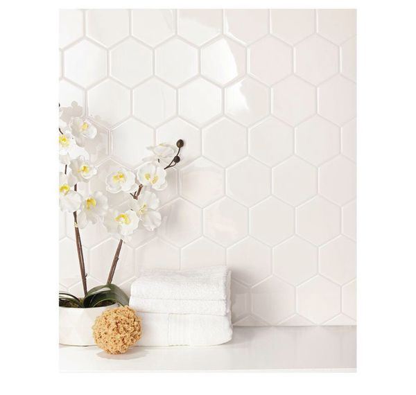 Daltile Semi Gloss White Hexagon 4 In X 4 In Glazed Ceramic Wall