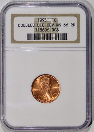 Photo 1995 DOUBLE DIE OBVERSE Lincoln Cent NGC MS-66 RED