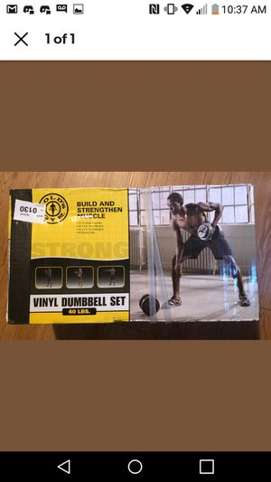 Photo GOLDS GYM 40 LB Vinyl Dumbbell Set Weight Dumbbells Hand Weights Adjustable