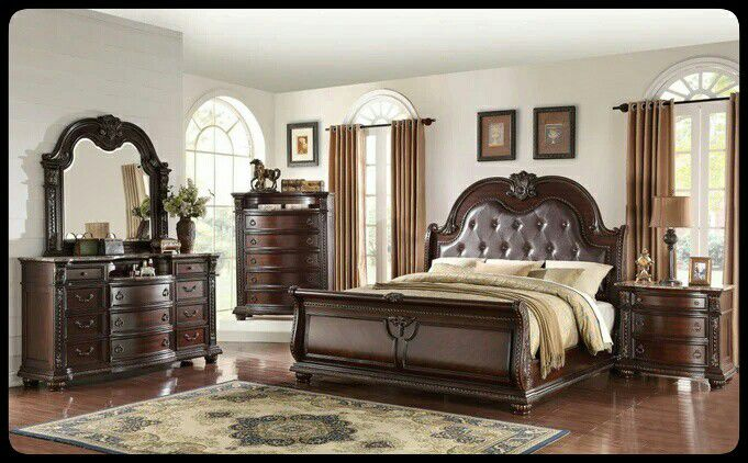 🆕QUALITY🆕 Stanley Cherry Brown Sleigh Bedroom Set