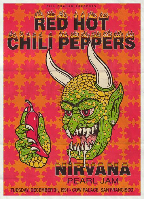 Nirvana Pearl Jam Red Hot Chili Peppers Original Concert Poster