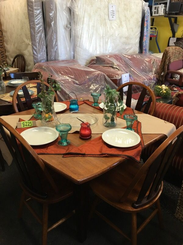 Square Chary Wood Dining Table Set With 4 Chairs Nashville TN