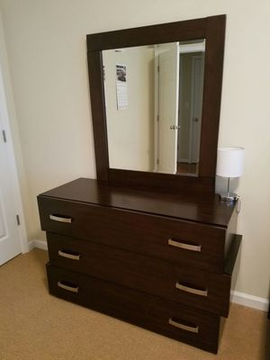Cherry wood 3 drawer dresser with mirror for Sale in Charlottesville, VA