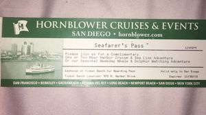 HORNBLOWER CRUISE TICKETS - 2 FOR $50 Deal for Sale in San Diego, CA