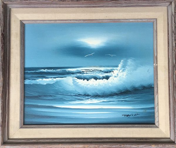 Signed Taylor Ocean Waves Seagulls Oil Painting On Canvas