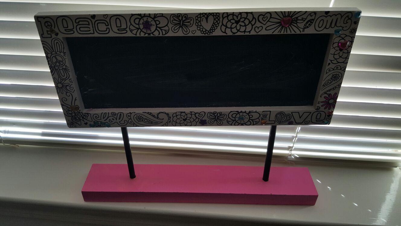 Decorative chalkboard for girls room