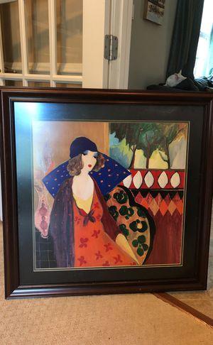 Itzchak Tarkay Indigo Chapeau seriolithigraph Framed for Sale in Gaithersburg, MD