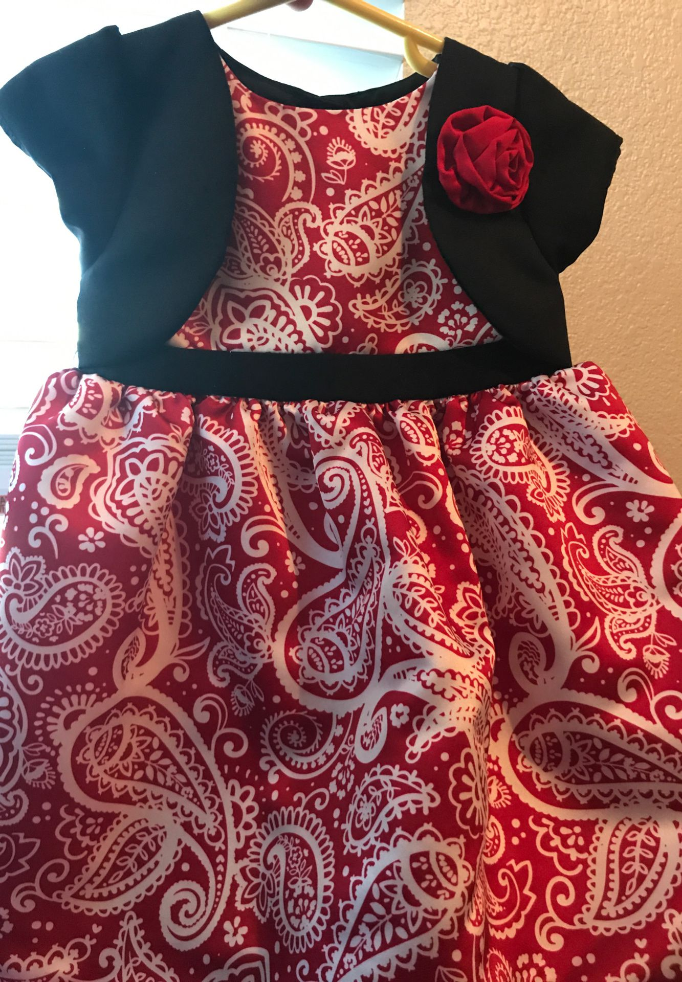 24 month girls black white and red dress