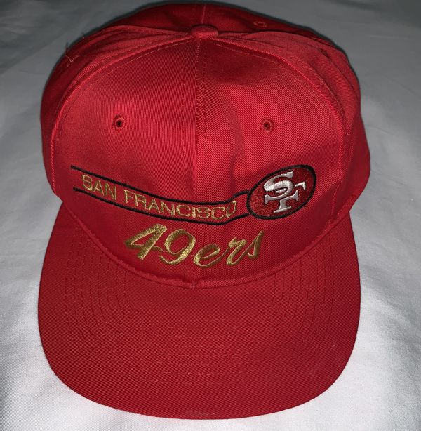 ed45414e8abaf Vintage San Francisco 49ers Red Script Snapback Hat Annco NWT for ...