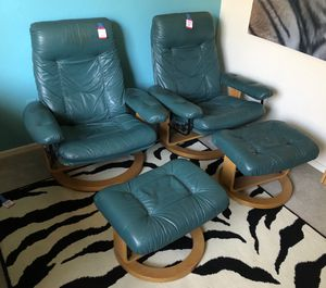 Chairworks Chair Works Ekornes Style Modern Green Leather Recliner Chair w ottoman for Sale in Phoenix, AZ OfferUp