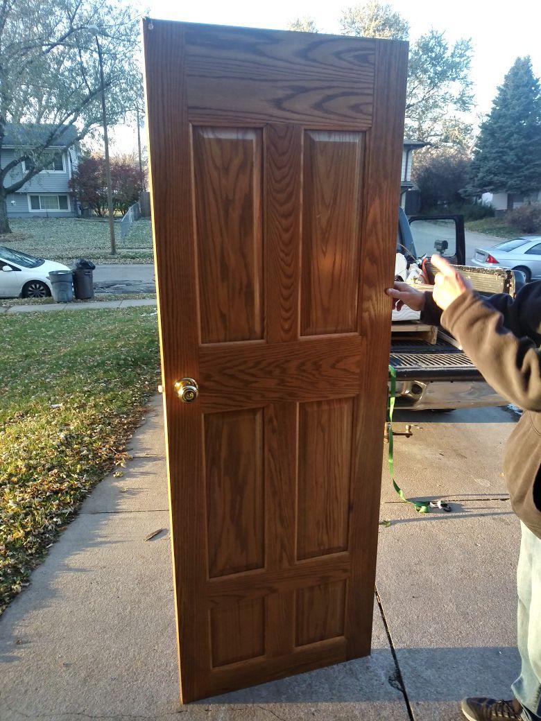 Solid oak 6 panel interior doors, 1 36- in 2 27 in and 1 24-in in