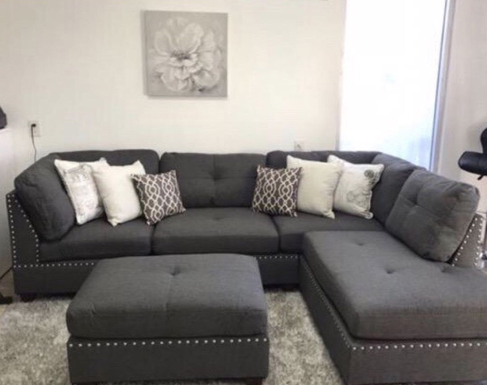 Gray Sectional Sofa ( ottoman Included ) New In Box