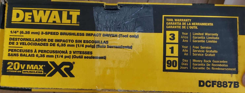 "Dewalt 1/4"" impact driver"