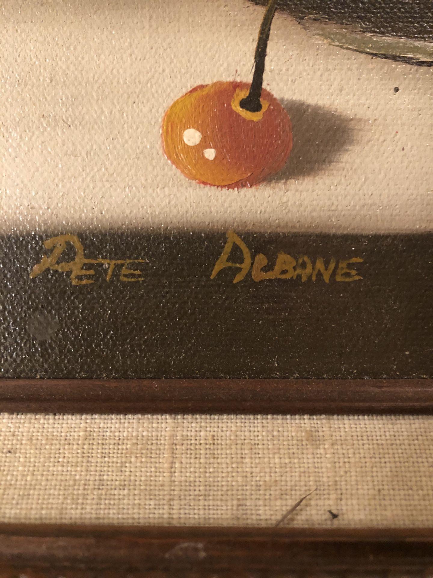 Vintage Oil On Canvas Still Life Artist Signed Pete Albane