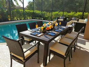 NEW Outdoor Patio Furniture Dining table w 8 chairs With Cushions Premium Aluminum Frame for Sale in Miami, FL