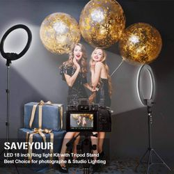 18 Inch Ring Light with Stand, Dimmable LED Ring Light with Carry Bag, Phone Holder & Pad Holder, Lighting for Live Stream/Makeup/Video/Camera/YouTube Thumbnail
