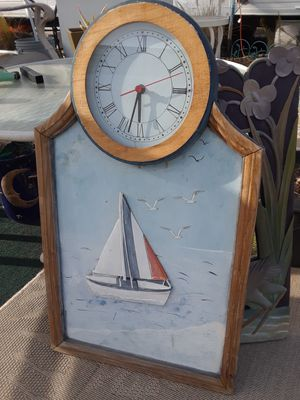 Photo Hand-carved Wooden Boat clock nautical decor clock mechanism easy enough to replace does not work