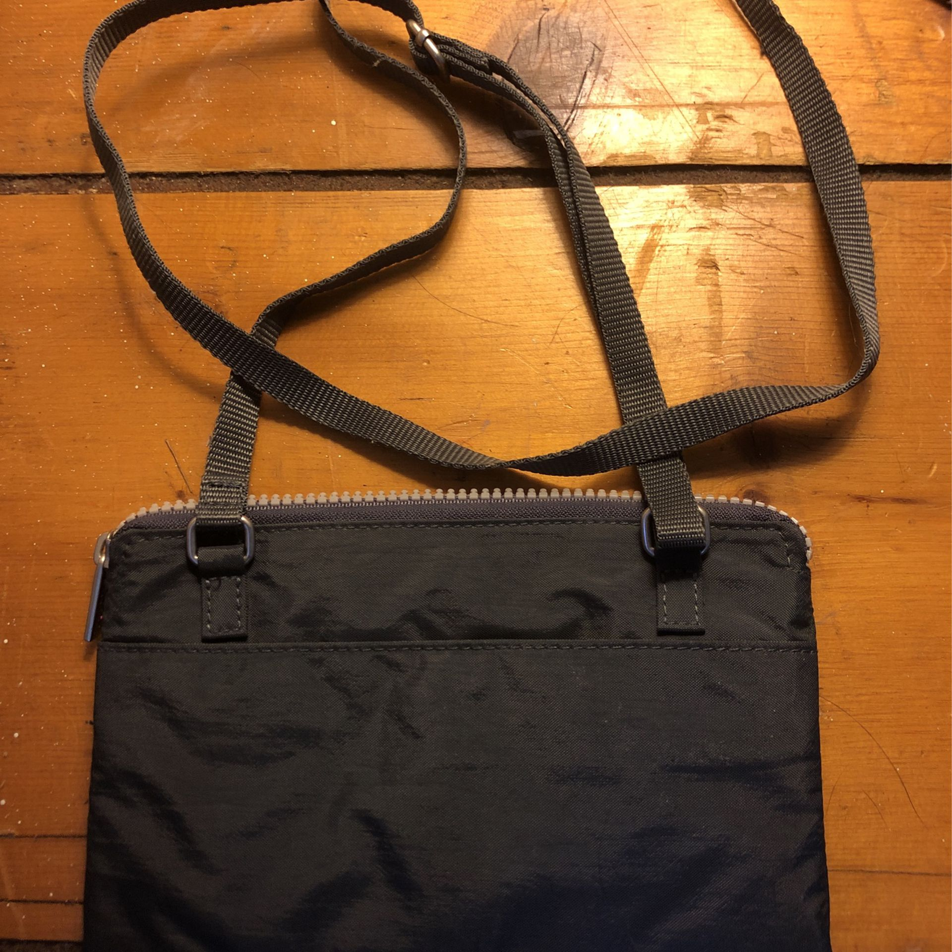 Gray Baggallini 3 zipper small crossbody bag