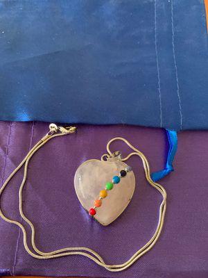 Photo Rose quartz chakra necklace brand new 925 silver chain