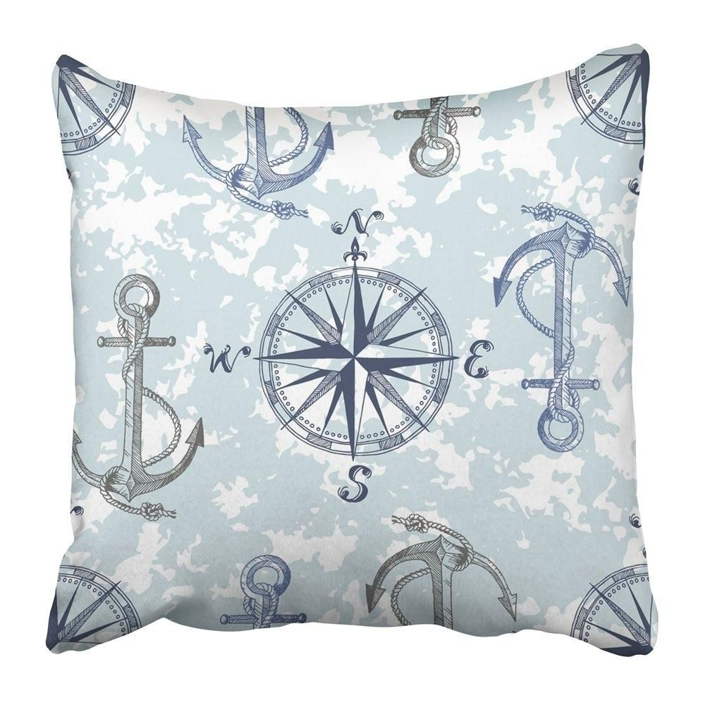 Blue Sea Pattern with Anchors and Compass Perfect and Prints Adventure Antique Aqua Cyan Flag Pillowcase 18x18 inch