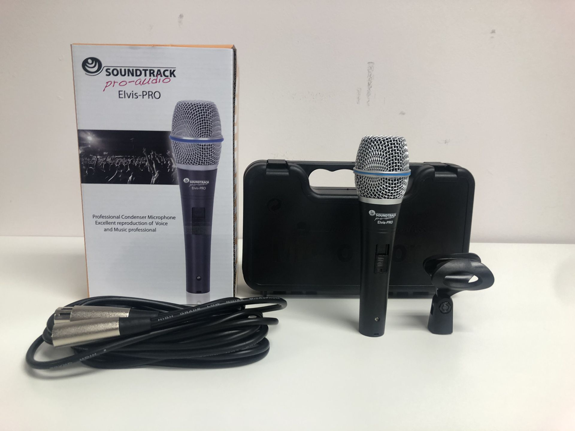 Elvis Pro. Condenser Microphone .Cable and case included.Excellent reproduction of voice and music professional