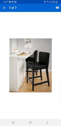 2 bar stool Ikea Henriksdal Bar Stool with backrest / Brown Black Frame / Black Leather Thumbnail