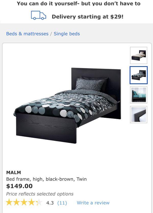 Ikea Black Malm Twin Bed Frame With Headboard Footboard