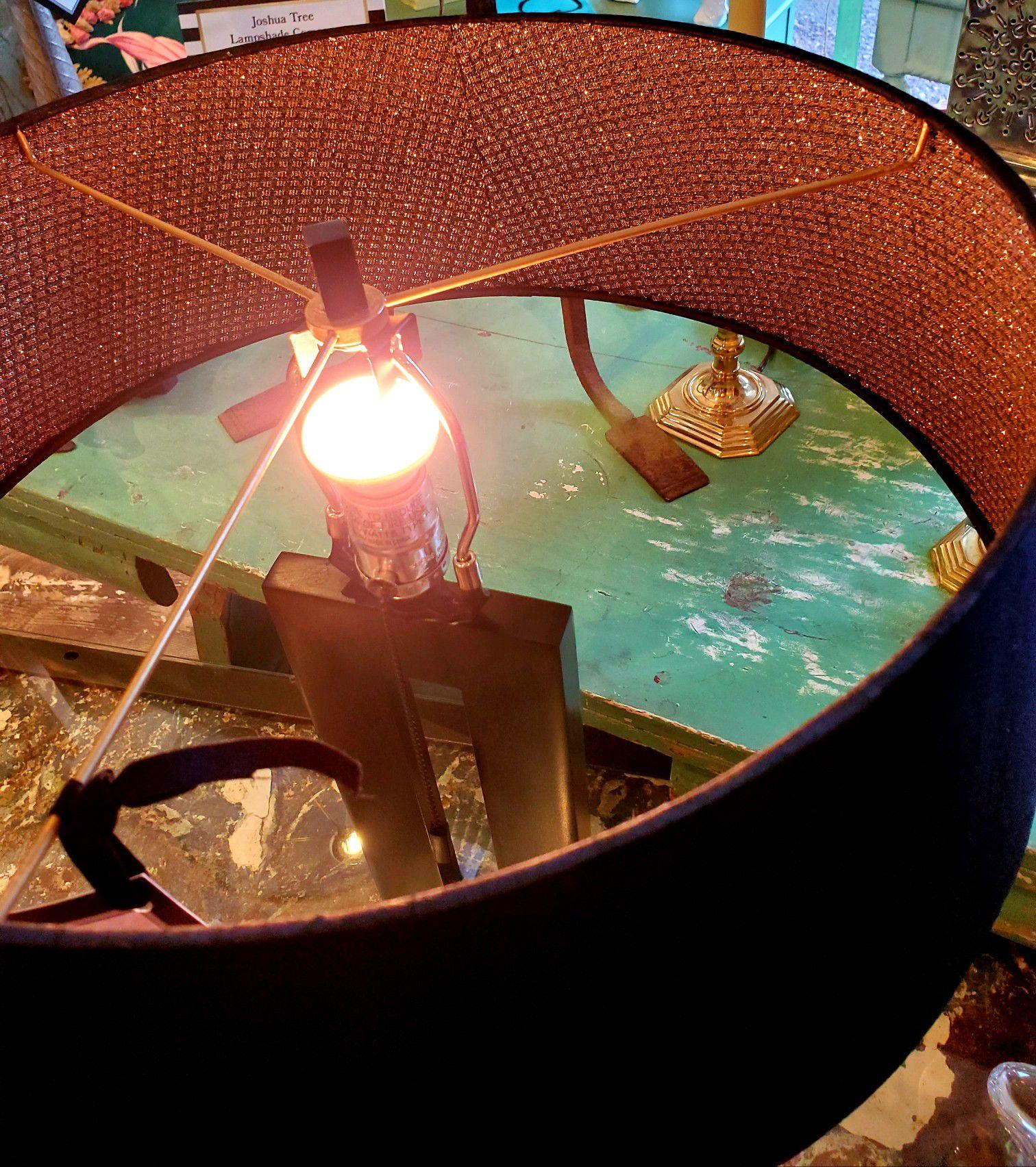 Modern Black Lamp & Custom Shade #9272