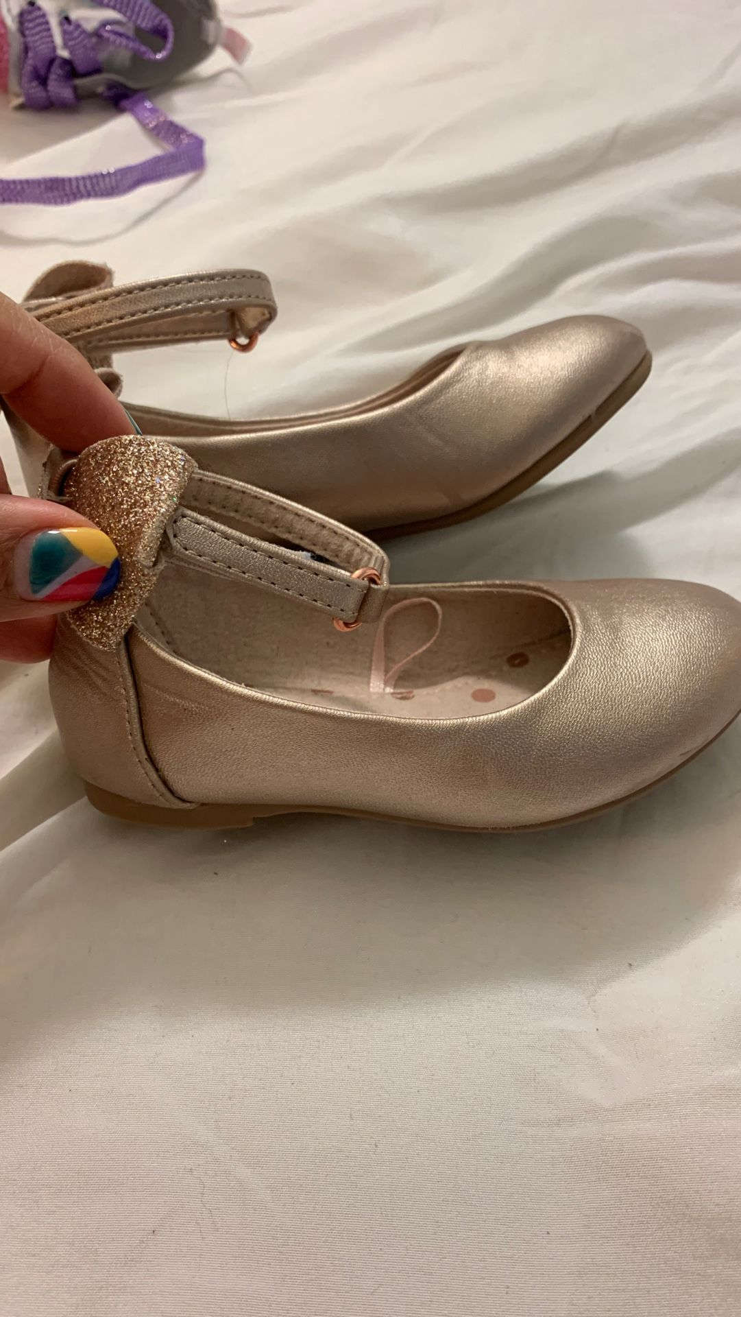 Girls rose gold shoes size 6