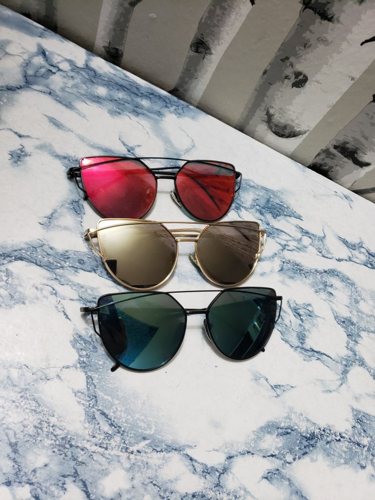 3 pair of Oversized Frame Cat Eye Sunglasses