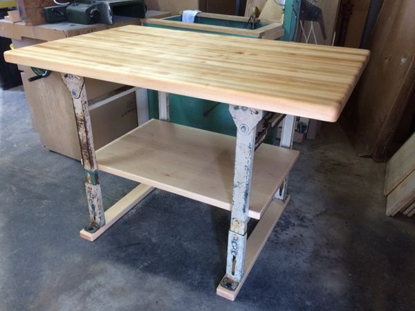 Kitchen island Butcher block top with industrial legs, this an incredible  Piece. Great for any Kitchen or can be used as an Industrial Style Bar. for  ...