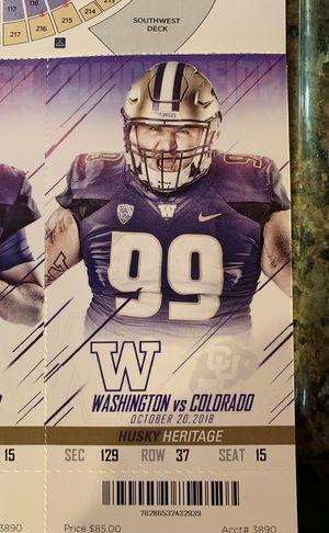 Four Husky Heritage 50 yard line tickets for UW vs Colorado for Sale in Bellevue, WA
