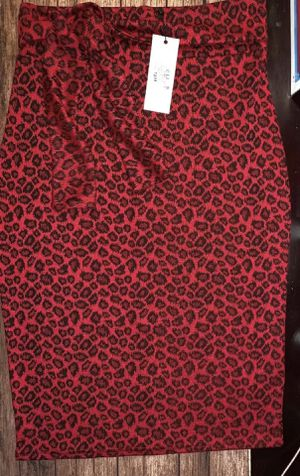 896b418c8 Brand New Vintage Chic for Vintage 50s Shana Leopard Pencil Skirt in Red  medium size 12