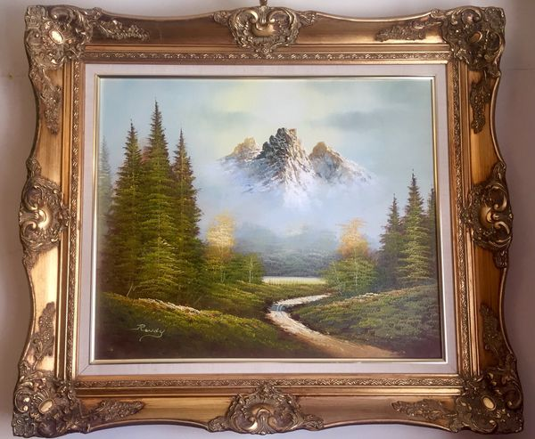 424875fbfab4 Beautiful landscape oil painting by Rondy in gold ornate frame for ...