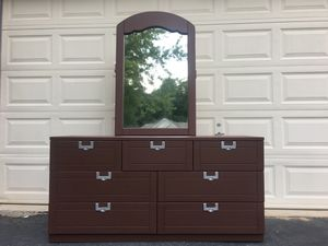 Lea Furniture Solid Wood 7 Drawer Long Dresser With Mirror Chocolate Brown With Silver Handles for Sale in Manassas, VA
