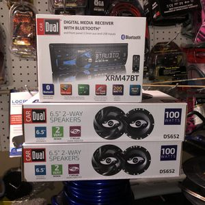 Dual car audio Bluetooth radio with speakers for Sale in Washington, DC