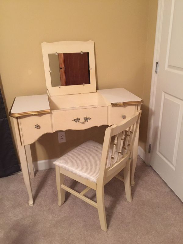 Vintage French Vanity Writing Desk With Flip Up Mirror And Chair By