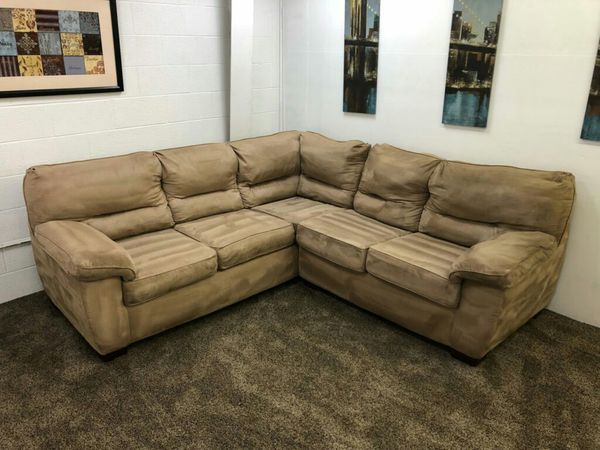 1292 2 Piece Light Brown Microfiber Sectional Sofa Set Delivery