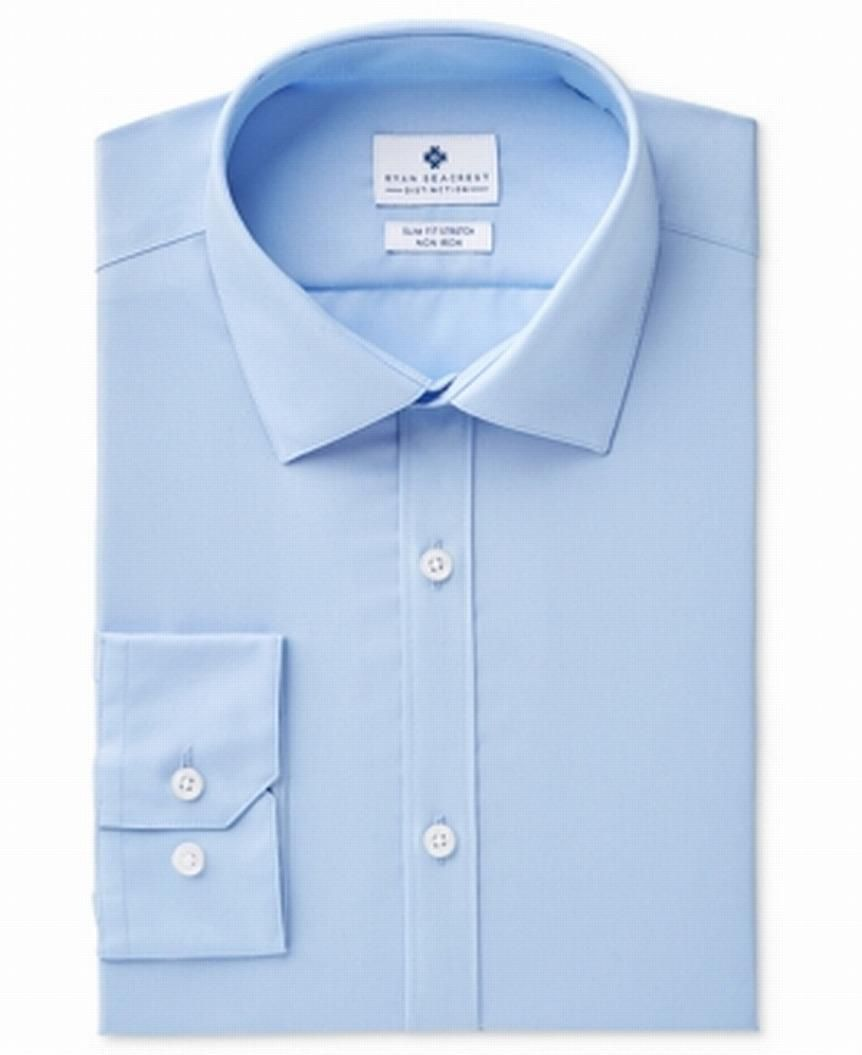 Ryan Seacrest Distinction Men Dress Shirt Blue 15 Slim Fit Stretch