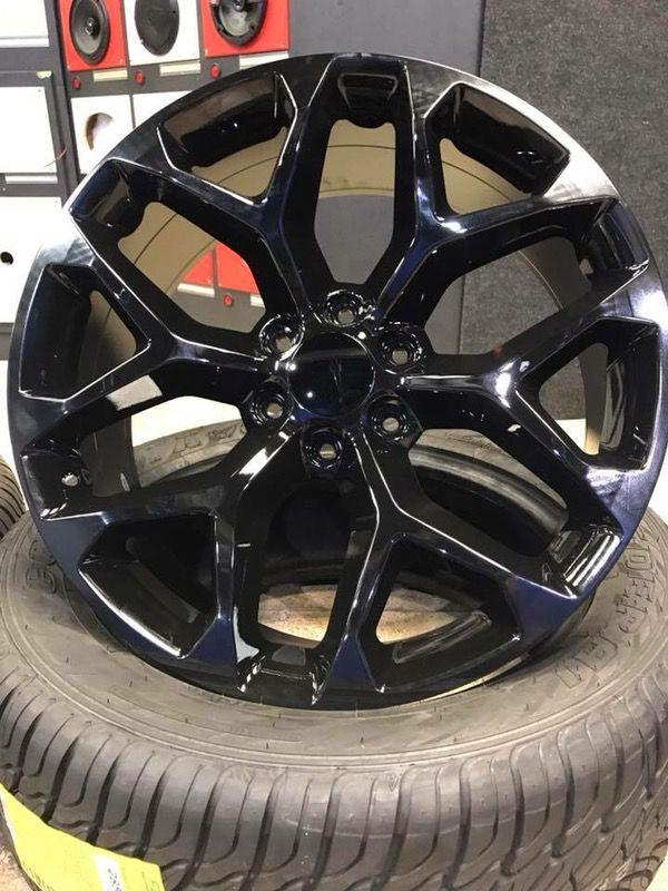 New 22x9 Snowflake Gloss Black Wheels Gmc Chevy 6 Lug For Sale In