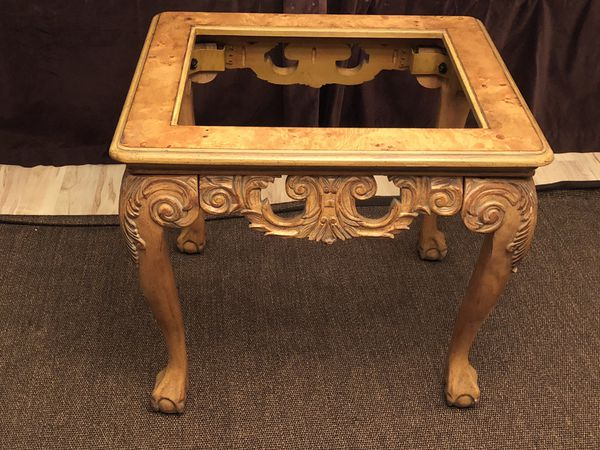Schnadig Wooden Hand Carved End Table