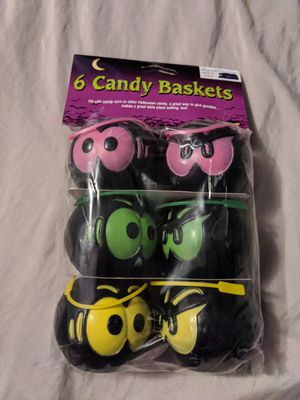 Photo New Sealed Vintage Fun World 6 Pack Halloween Spooky Eyes Black Candy Baskets